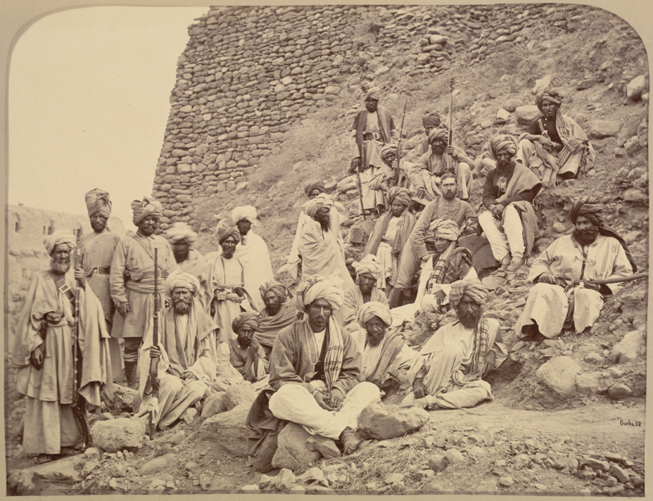 Khyber chiefs & Khans, with Captain Tucker, Political Officer in Jamrood Fort